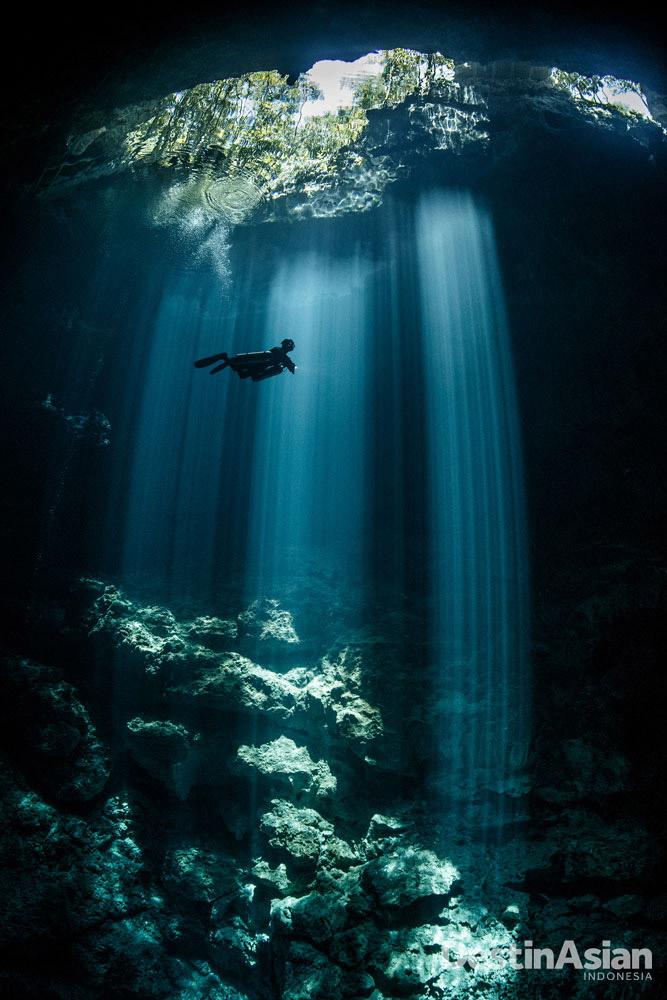 Terry Steeley asal Inggris memotret sejumlah gua dan terowongan bawah air yang menjadi obyek wisata andalan Riviera Maya, Meksiko.