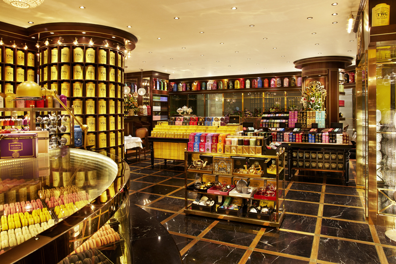 Koleksi teh di TWG Tea Salon & Boutique.