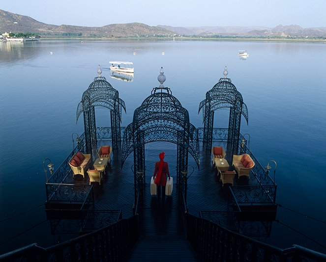 Area kedatangan di Taj Lake Palace.