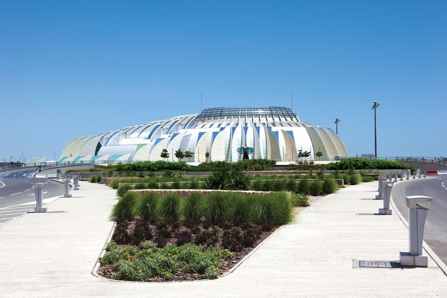 Terminal Emiri yang arsitekturnya terinspirasi tetesan air.