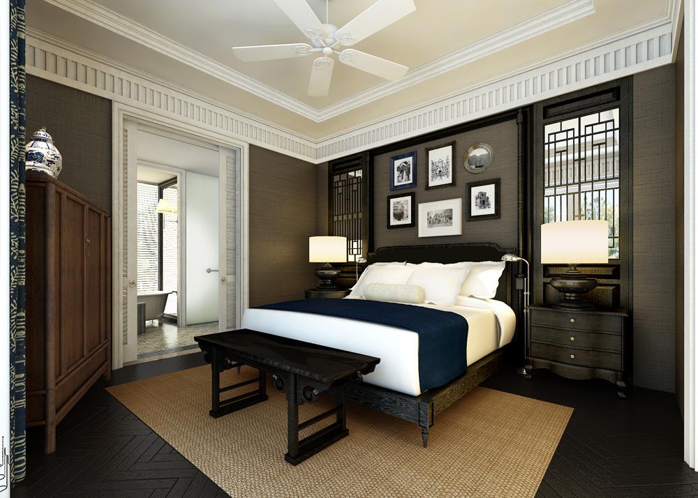 Desain kamarnya elegan dengan elemen tradisional kental.