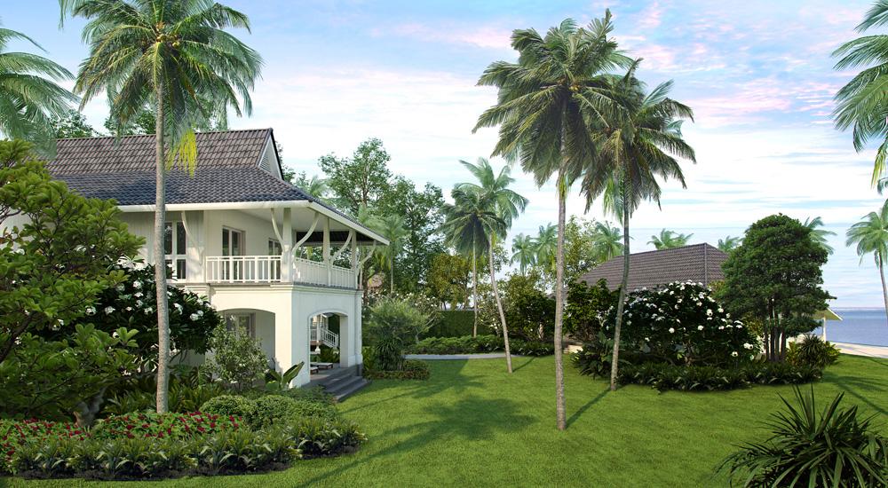 Bangunan The Sanchaya mengadopsi gaya rumah-rumah khas Asia Tenggara.