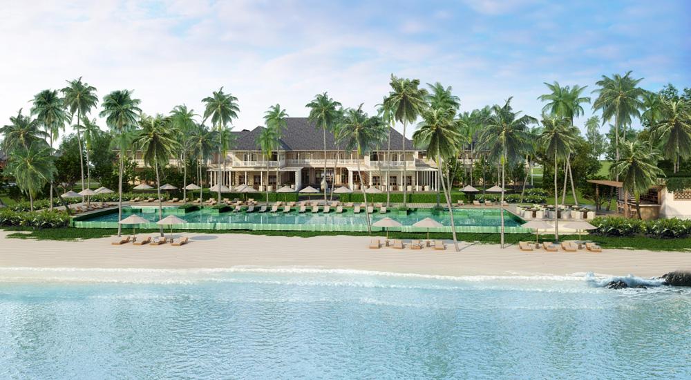 The Sanchaya dengan pantai privat dan kolam renang tepi pantai.