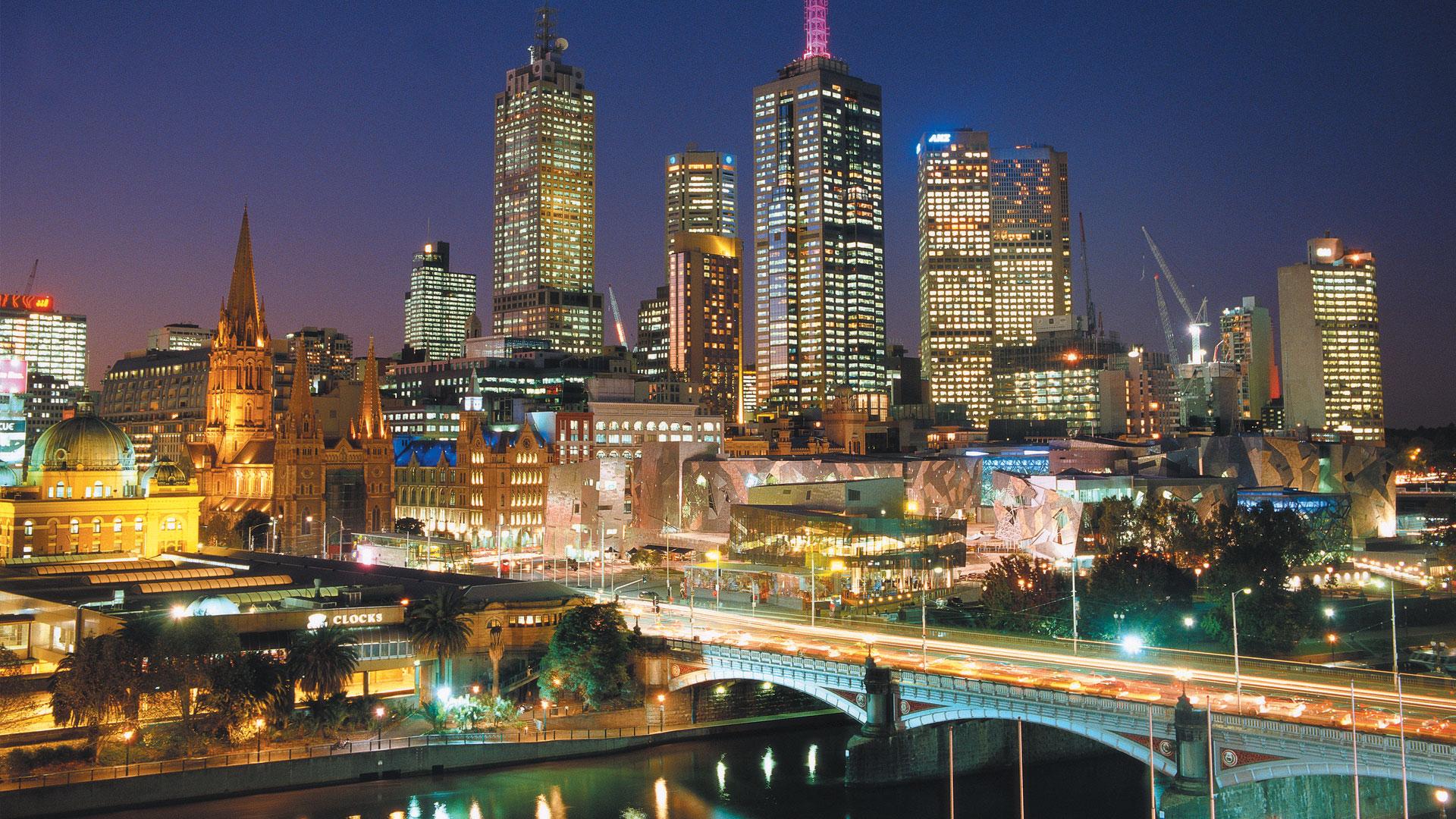 Gemerlap lampu di kota Melbourne.