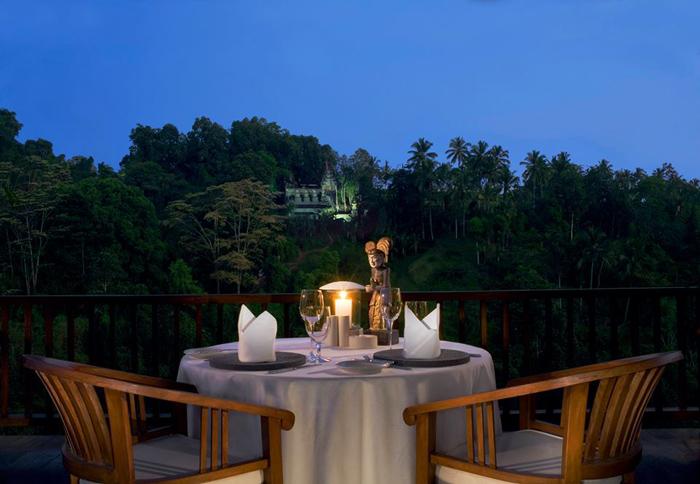 Makan malam romantis di bawah sinar bulan.