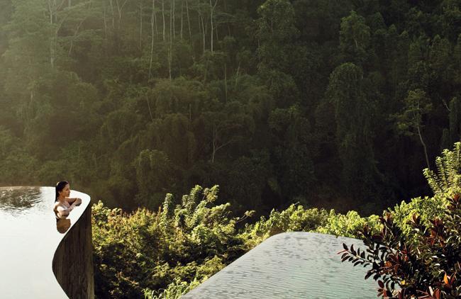 Infinity pool di Ubud Hanging Gardens dengan latar hutan alami.