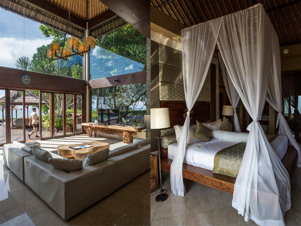 Kiri: ruang tamu di Presidential Villa; kanan: kamar tidur dengan desain tradisional.