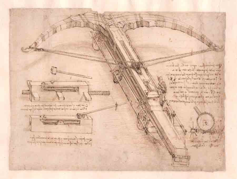 Sketsa busur panah raksasa kreasi Leonardo da Vinci.