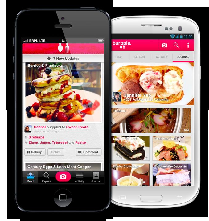 Penampilan Burpple di ponsel pintar iPhone dan Android.