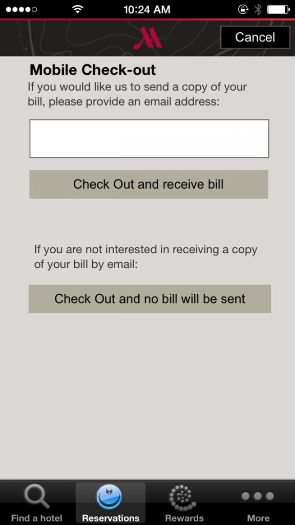 Tampilan fitur <i>check-out</i> di aplikasi Marriott Hotels.