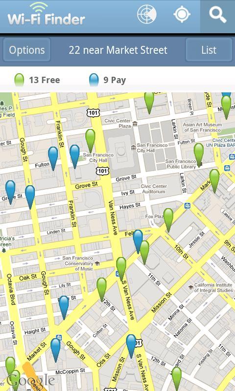 Aplikasi Free Wi-Fi Finder yang memetakan titik-titik hotspot gratis di dekat penggunanya.