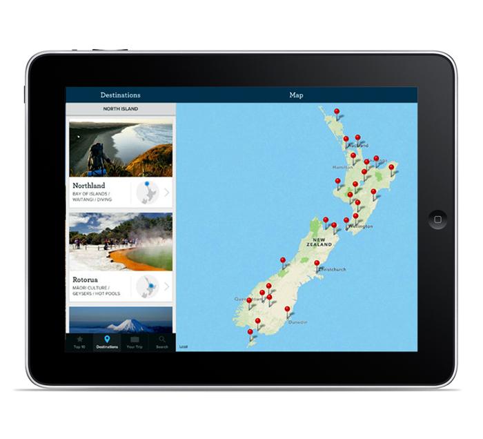 Tampilan aplikasi Essential New Zealand di iPad.