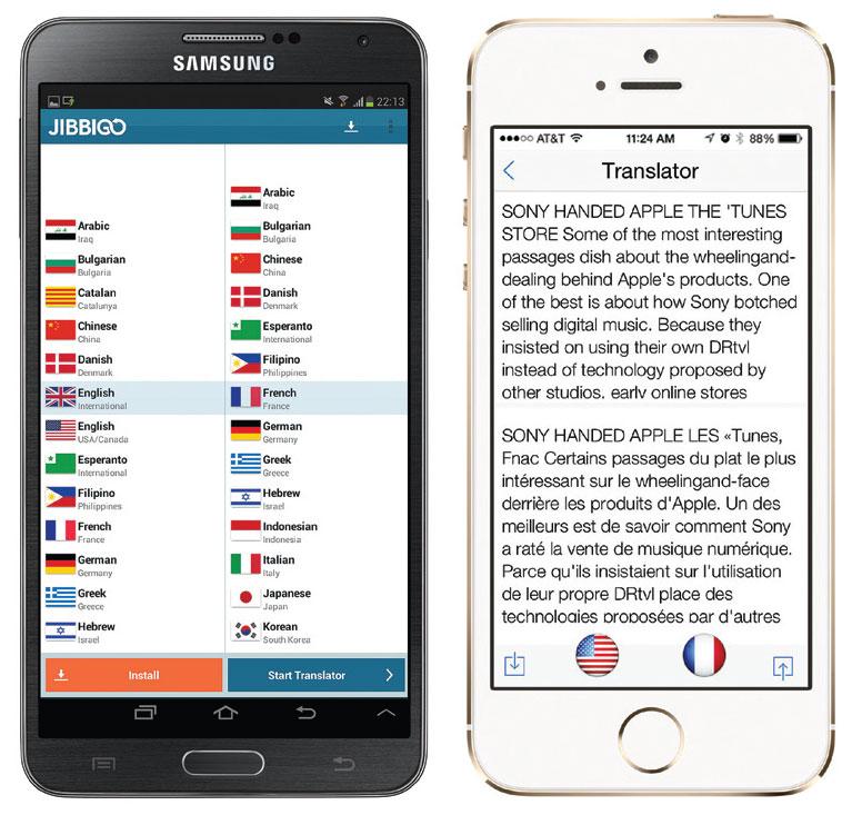 Jibbigo Translator bisa digunakan tanpa koneksi internet (kiri). Pixter Scanner cocok untuk traveling ke negara minim huruf latin (kanan).