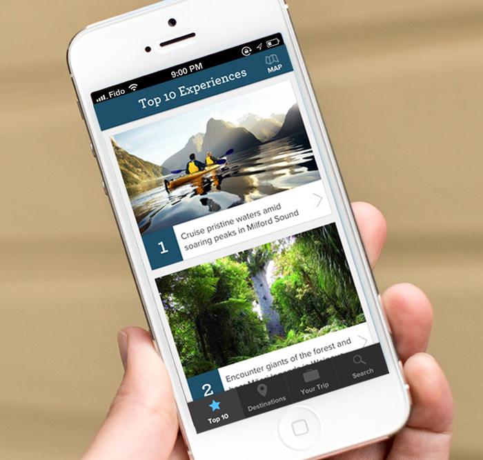 Tampilan aplikasi Essential New Zealand di iPhone.