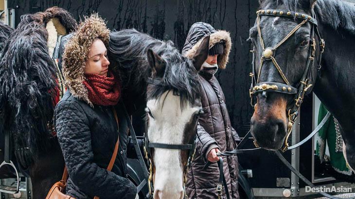 Warga lokal dengan kuda-kuda kavaleri dalam peringatan Revolusi Hungaria.