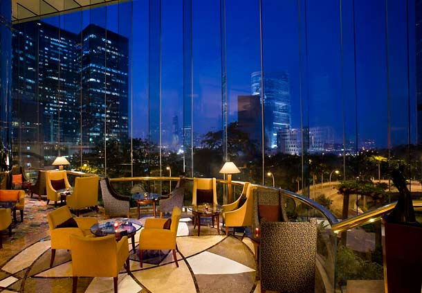 Lounge di JW Marriott Hong Kong tempat digelarnya afternoon tea.