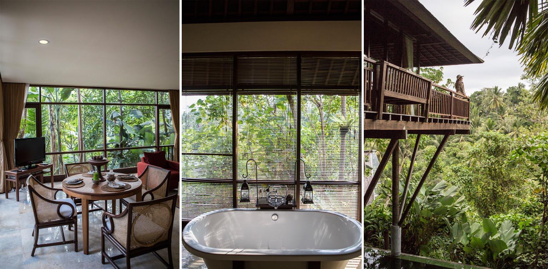 Kiri: ruang makan bernuansa sederhana; tengah: bathtub klasik di kamar mandi dengan pemandangan hutan; kanan: balkon privat untuk menghabiskan waktu.
