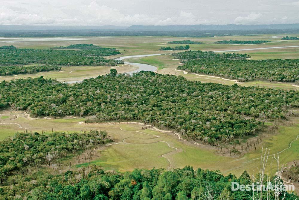 Foto Danau Sentarum diambil pada musim kering pada Juli 2012, di mana sebagian besar air telah mengalir ke sungai terpanjang di Indonesia—Kapuas (Atet Dwi Pramadia).