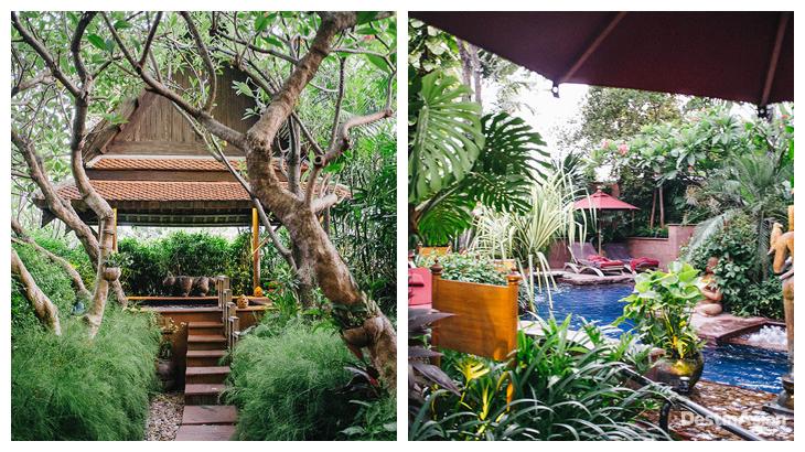 Kiri-kanan: Jacuzzi dan kolam whirlpool privat di kamar tipe Raja Ratchada Suite; area kolam di dalam hotel.