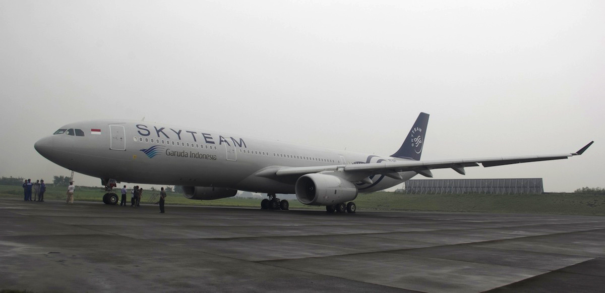 Livery baru Garuda Indonesia dengan logo SkyTeam.