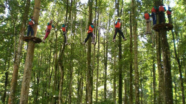 Menguji nyali di Bali Treetop Adventure bersama keluarga.