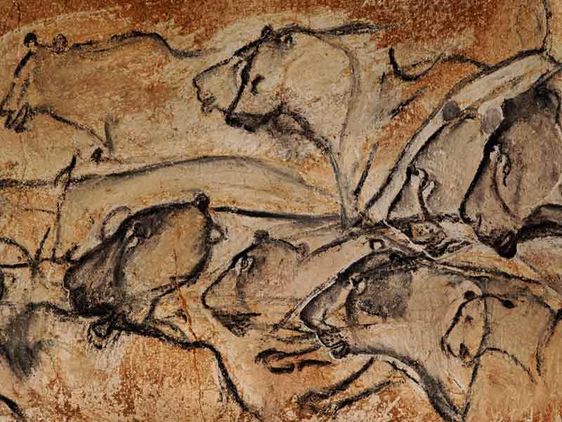 Lukisan di gua Grotte Chauvet-Pont d'Arc di selatan Prancis.